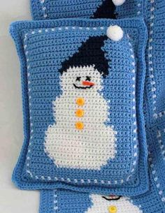 Picture of Snowman Afghan and Pillow Crochet Pattern