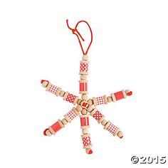 Red & White Spool Snowflake Christmas Craft Kit, Ornament Crafts, Crafts for Kids, Craft & Hobby Supplies - Oriental Trading