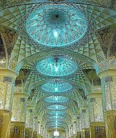Ceiling of Allah Verdi Khan Mosque, Mashhad, Iran Persian Architecture, Mosque Architecture, Sacred Architecture, Beautiful Architecture, Beautiful Buildings, Architecture Design, Cantilever Architecture, Beautiful World, Beautiful Places