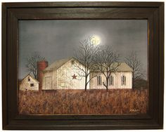 Primitive Farmhouse Barnstar Print Barn in Moonlight Home Decor Rustic Country, Country Art, Country Primitive, Primitive Decor, Famous Artists Paintings, Farm Paintings, Billy Jacobs Prints, Art Rules, Poster Prints