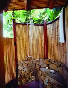 outdoor shower | if you are considering building your own bamboo outdoor shower