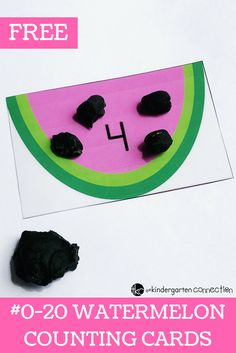 Grab these FREE Watermelon Counting Cards for Pre-K and Kindergarten! Children will work on counting and number identification for numbers 0-20. #counting #numbers #freeprintable #countingcards #preschool #kindergarten #watermelon #summerfun