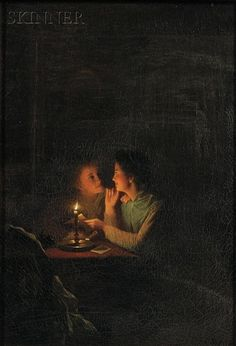 Artwork by Petrus van Schendel, Two Young Women Reading a Letter By Candlelight, Made of Oil on canvas