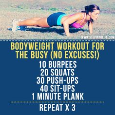 Bodyweight exercise workout circuit burpees squats push-ups sit-ups plank Personal training Step into Life
