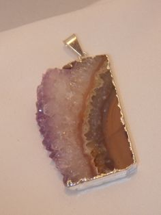 Amethyst Slice Pendant edged in Silver for  a by CallaBeadSupplies, $16.50