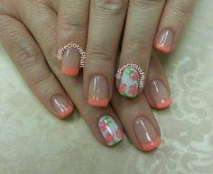 Coral french nails. Floral nails. #PreciousPhanNails