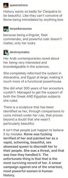 raved about her intelligence, Cleopatra was a badass intelligent queen wh. - geschichte -Julius raved about her intelligence, Cleopatra was a badass intelligent queen wh. History Memes, History Facts, Badass, The More You Know, Interesting History, Faith In Humanity, My Tumblr, Women In History, Things To Know