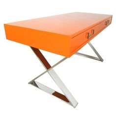 Milo Baughman Campaign Desk in Orange - $9,500 Est. Retail - $6,500 on Chairish.com