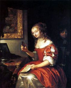 1667 Young Lady with A Letter by Caspar Netscher