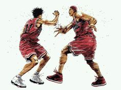 sakuragi rukawa high five Slam Dunk Manga, Comic Manga, Anime Comics, Anime Manga, Inoue Takehiko, Basketball Art, Manga Artist, Manga Love, High Five