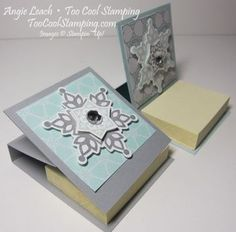 Festive Flurry Mini Post It Note Holder http://www.toocoolstamping.com/toocoolstamping/christmas-projects/