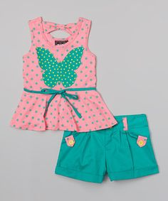 Look what I found on #zulily! Coral Butterfly Peplum Tank & Teal Shorts - Toddler & Girls by RMLA #zulilyfinds