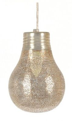 Pendant light made from pierced silver metal. Designed in Holland and handmade in Egypt