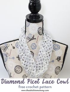 Diamond Picot Lace Cowl – Free Crochet Pattern – Scarf of the Month Club hosted by The Stitchin' Mommy and Oombawka Design Crochet Cowl Free Pattern, Easy Crochet Patterns, Knitting Patterns Free, Free Crochet, Cowl Patterns, Crochet Ideas, Crochet Summer, Knitting Tutorials, Loom Knitting