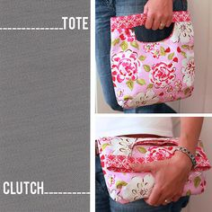 PDF Sewing Pattern Fold Over Clutch / Tote Bag di LBGstudio