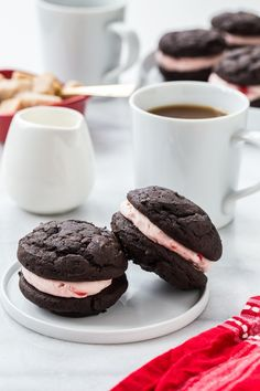 Chocolate Cherry Sandwich Cookies are a stunning way to show your love this Valentine's Day. Grown-ups and kids alike will love these sweet sandwich cookies!