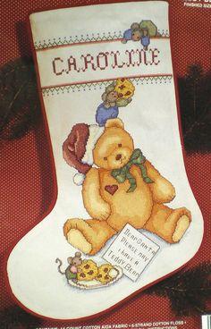 JANLYNN Cross Stitch CHRISTMAS Stocking kit TEDDY Bear Stocking