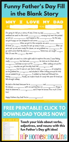 homemade fathers day gifts: Grab your FREE PRINTABLE funny, fill-in-the-blank  story he'll love! #fathersday #printable