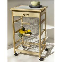 Tiled Countertop Utility Cart with Basket Shelves