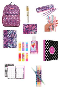 """""""Back to School Supplies"""" by cassidy-hunteman ❤ liked on Polyvore featuring interior, interiors, interior design, home, home decor, interior decorating, Vera Bradley, Renouve and Maybelline"""
