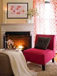 Here, a classic deep pink from the blue end of the red spectrum combines with a warm coral against a background of pale beige: http://www.bhg.com/decorating/seasonal/spring/decorate-with-springs-hot-colors/?socsrc=bhgpin042814quietwithapop&page=6