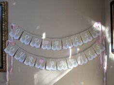 Custom Burlap Lace Name Banners Baptism by StacyLavelleDesigns