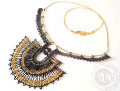 Náhrdelník 16 048 - Egypt černo-zlatý   Vamberecká krajka