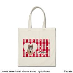 #Custom #Heart Shaped #Siberian #Husky Cotton #Tote Bag #shopping #bestprice