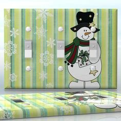 DIY Do It Yourself Home Decor - Easy to apply wall plate wraps | I Love You Snow Much!  Snowman with present and snowflakes  wallplate skin sticker for 3 Gang Toggle LightSwitch | On SALE now only $5.95