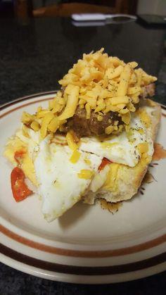 Peppadew cheese, egg and steak panini