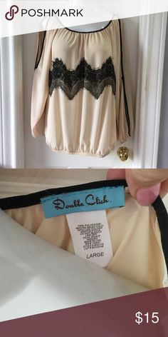 """Long sleeve cold shoulder blouse Only worn once!  Elastic at bottom, splits on arms (""""cold shoulder"""") Doubleclick Tops Blouses"""