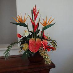 Tropical Silk Floral Arrangement Bird of by AlohaSilkFlorals
