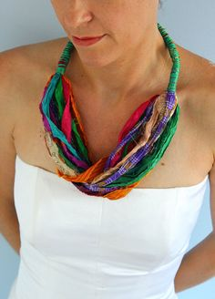 Silk necklace from colorful silk sari ribbon, boho necklace, multicolored silk scarf, ethnic necklace, summer fashion