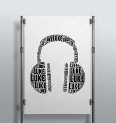 #wallart and a #musthave for #Music Junkies. #Personalized with #songlyrics, #names, #musicnotes.  #decor #interior #headphones #kidsdecor #creative #wordart #print #poster #handmade #personalizedgift #giftidea
