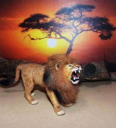 OOAK 1: 12 Dollhouse miniature ROARING LION HANDMADE realistic wild cat IGMA