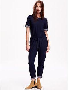 Short Sleeve Knit Jumpsuit | Old Navy