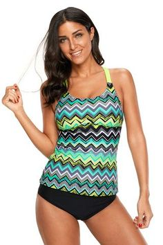 d6096c0db3f20 Green Yellow Zigzag Print Y Back Her Active Lifestyle Tankini Top Two Piece  Swimsuits