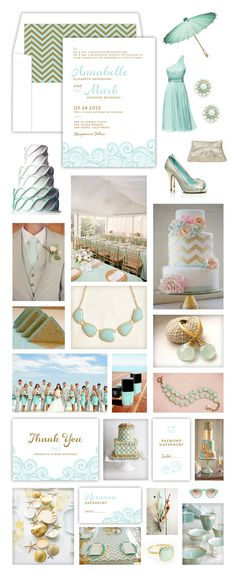 Mint & Gold Beach Wedding
