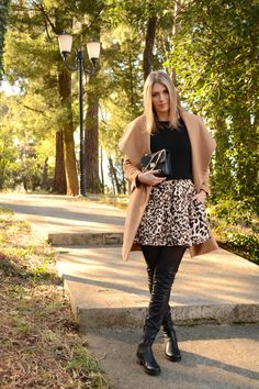 Winter outfit: Sheinside camel coat, Zara leopard skirt, Zara bag and black over the knees boots. #fashion