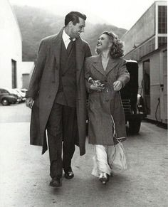 "Cary Grant and Priscilla Lane on the set of ""Arsenic and Old Lace"", 1941"