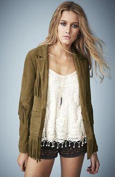 Kate Moss for Topshop Fringed Suede Jacket @Nordstrom