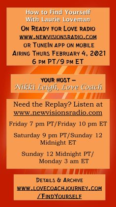 Airing tonight - Thur Feb 4, 2021 at 9 pm ET/ 6 pm PT on www.newvisionsradio.com How to Find and Re-Discover Yourself. Details on www.readyforloveradio.com/findyourself. With my guest, author, Laurie Loveman. Discover Yourself, Finding Yourself, Love Radio, Ready For Love, Head And Heart, Relationships, Romance, Positivity, Author