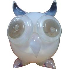 Seguso VdA Murano Opaline Owl Paperweight 1950s Label from San Marcos on Ruby Lane