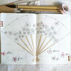 Bullet journal monthly mood tracker, fan drawing. | @coco5005bujo