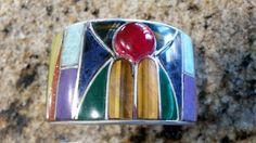 Inlaid Multi-stone Cuff Bracelet