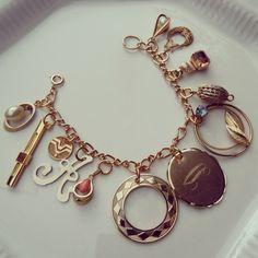 Vintage recycled jewelry charm bracelet