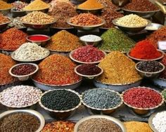 Colorful spices in Ahmedabad, India,