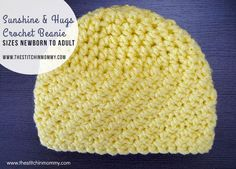 Sunshine and Hugs Crochet Beanie - Free Crochet Pattern Sizes Newborn to Adult | http://www.thestitchinmommy.com