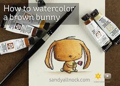 "Sandy Allnock | Watercolor Bunny | POD Stacey Yacula ""Rosie"" (on wc + fav + pod)"