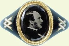 Queen Victoria (Alexandrina Victoria) (1819-1901) and Prince Albert (Albert Francis Charles Augustus Emmanuel) (1819-1861). A mourning ring after the death of Albert that Victoria had made and wore for the rest of her life.